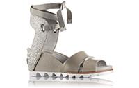 A grey wrap sandal.