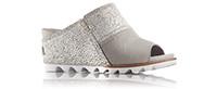 A grey mule sandal.