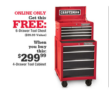 Elegant ONLINE ONLY Get This FREE: 6 Drawer Tool Chest ($99.99 Value) When ...