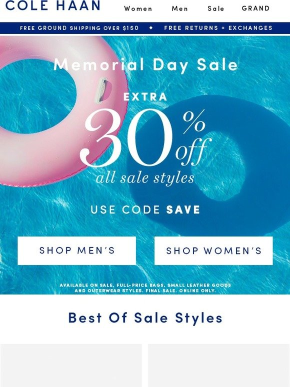 Cole Haan: FW: Memorial Day Sale is on