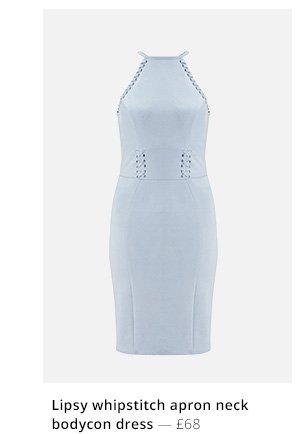 LIPSY WHIPSTITCH APRON NECK BODYCON DRESS