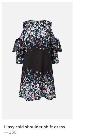 LIPSY COLD SHOULDER SHIFT DRESS