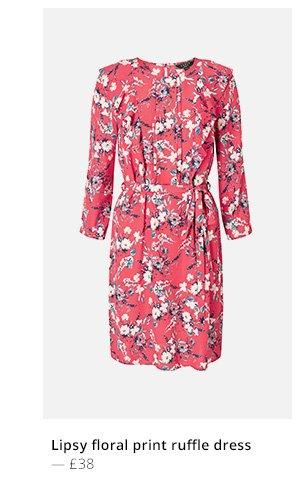 LIPSY FLORAL PRINT RUFFLE DRESS