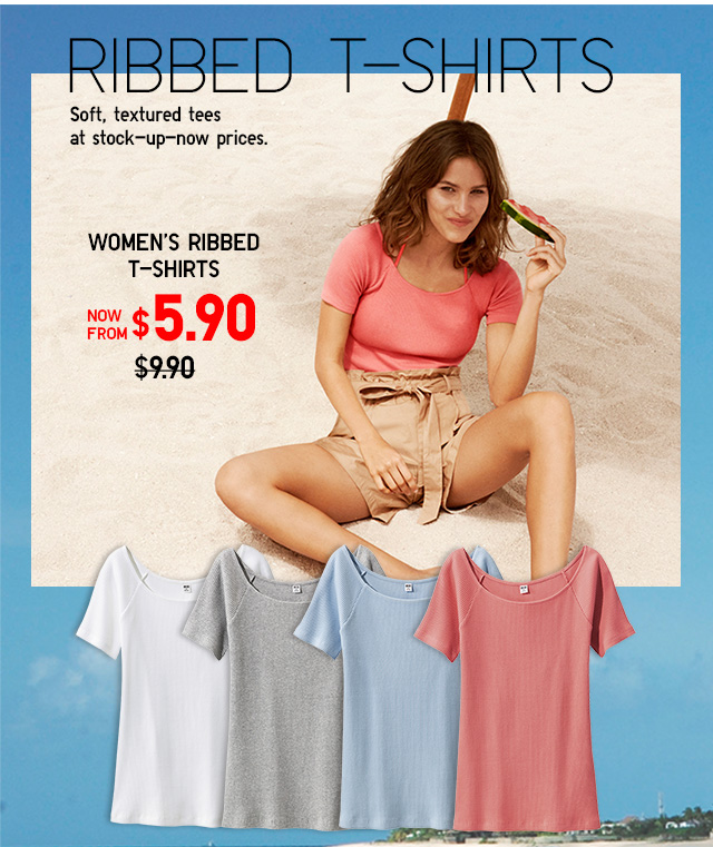 Women Ribbed T-Shirts - Shop Now