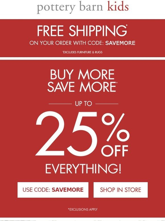 image regarding Pottery Barn Kids Printable Coupons identify Potterybarn children absolutely free transport code : 2018 Sale