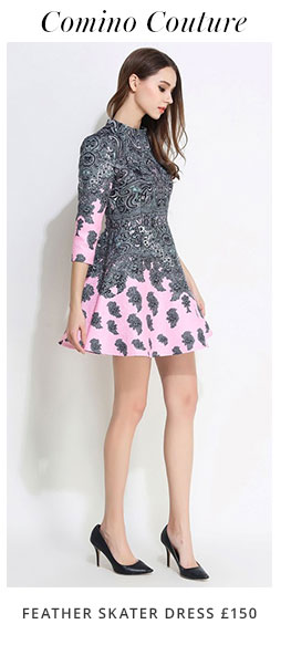 Comino Coture Feather Skater Dress