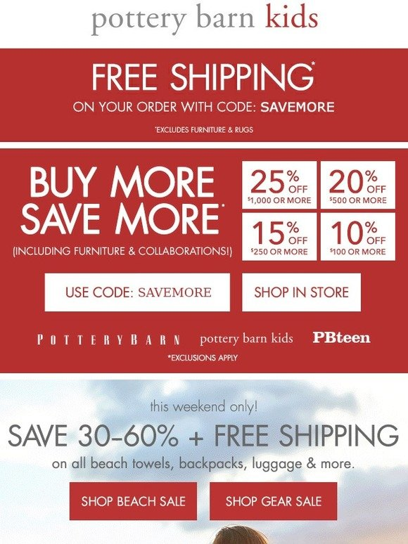 Yes, the Pottery Barn Kids Cyber Monday Deals will start on Mon Nov 26 with many items available in the discounted Cyber Monday sale. Pottery Barn Kids Social Media Links Pottery Barn Kids on Twitter: Keeping an eye on the latest trends for the nursery, kids' rooms, and/or playroom, follow this account to share your opinions and spread.