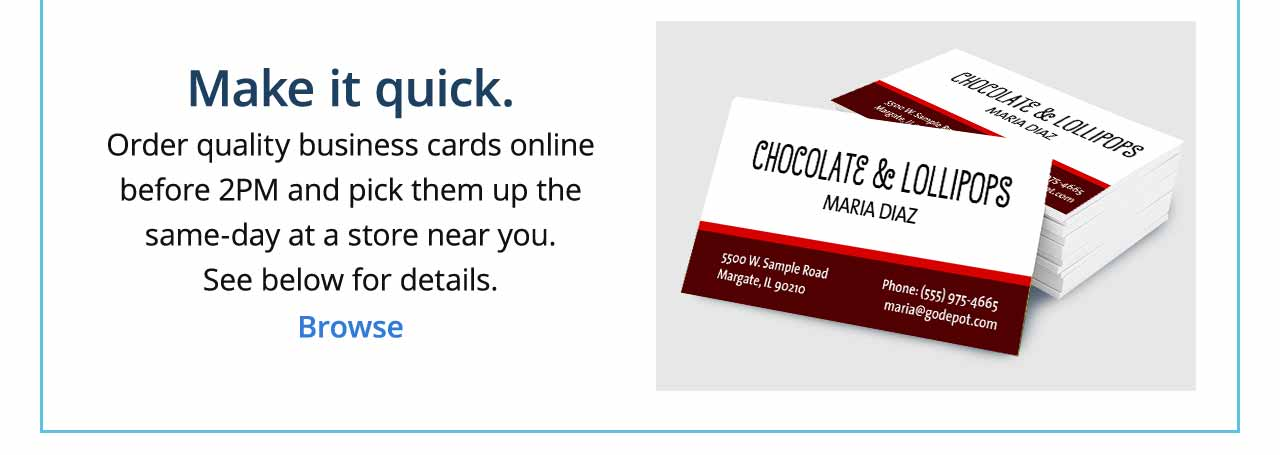 Office max design business cards that reflect your business order quality business cards online before 2pm and pick them up the reheart Gallery
