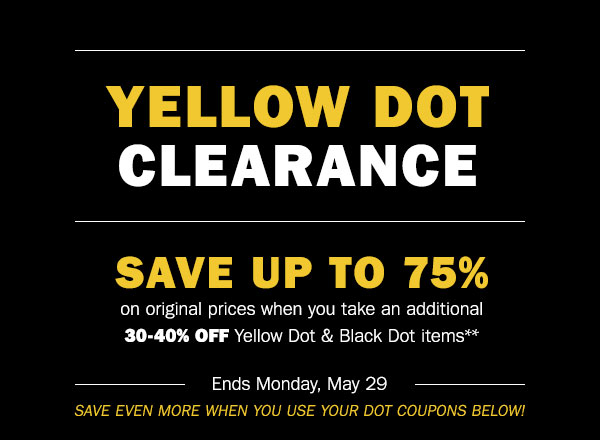 photograph about Carson Pirie Scott Printable Coupons called Carsons yellow dot clearance coupon / Flight trampoline park