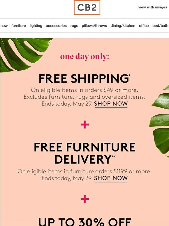 Cb2 Free Shipping >> Cb2 Free Shipping Furniture Delivery Today Only Milled