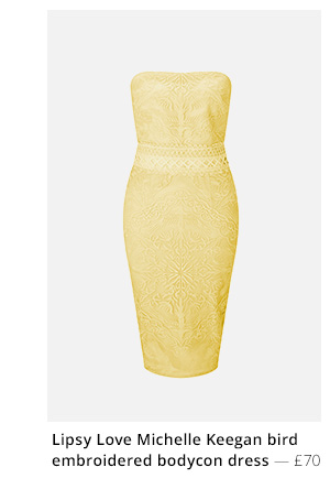 LIPSY LOVE MICHELLE KEEGAN BIRD EMBROIDERED BODYCON DRESS