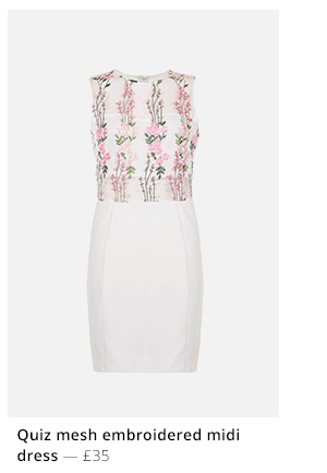 QUIZ MESH EMBROIDERED MIDI DRESS