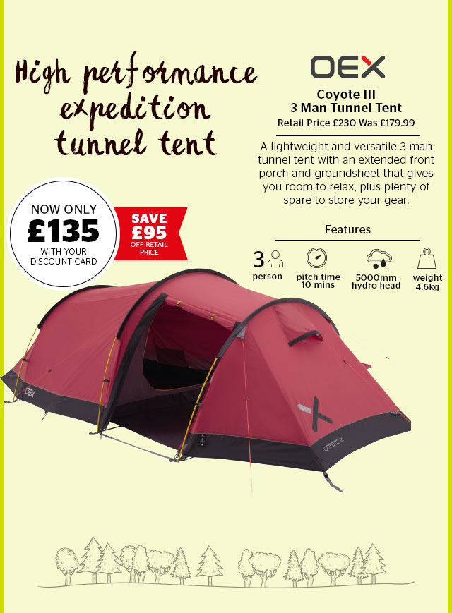 OEX Coyote III 3 Man Tunnel Tent
