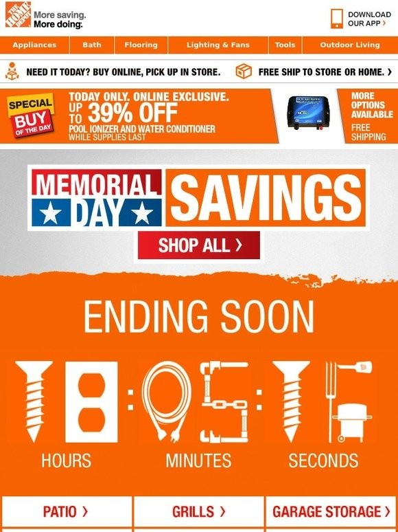 home depot final notification you 39 re advised to check out these memorial day special buys milled. Black Bedroom Furniture Sets. Home Design Ideas