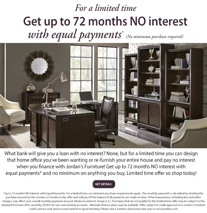 Jordan's Furniture: Get Up To 72 Months No Interest With