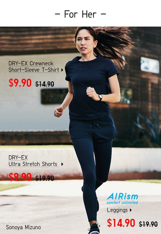 DRY-EX Crewneck Short-Sleeve T-Shirt, DRY-EX Ultra Stretch Shorts, AIRism Leggings - Shop Women