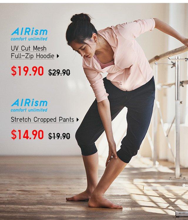 AIRism UV Cut Mesh Full-Zip Hoodie, Stretch Cropped Pants - Shop Men