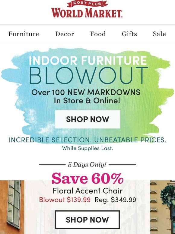 Cost Plus World Market: FURNITURE BLOWOUT! Up to 60% off. : Milled