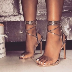 8c996ab8a Shoespie Lace-Up Open Toe Stiletto Heel Sandals