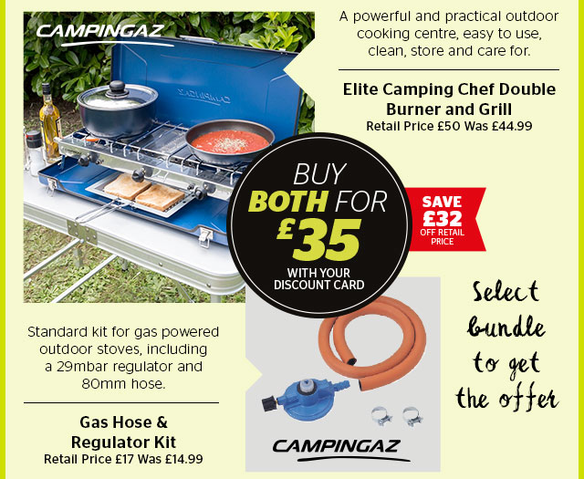 Campingaz Elite Camping Chef Double Burner and Grill + Gas hose & Regulator