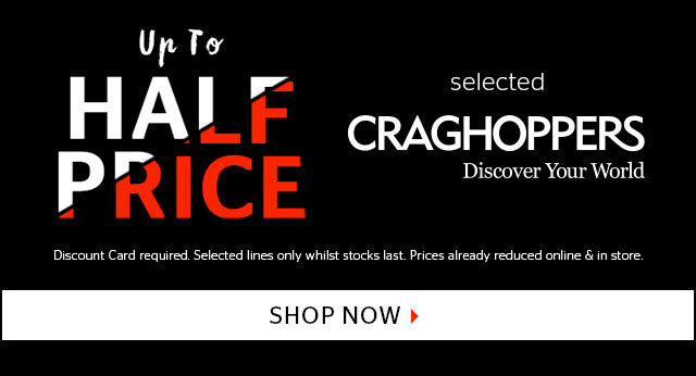 Up to half price selected Craghoppers