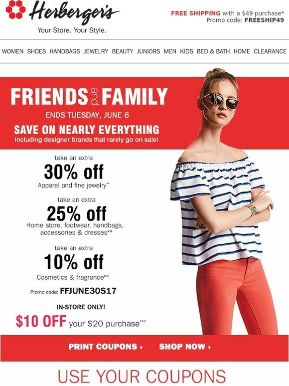 Herbergers: Friends & Family Ends TOMORROW • EXTRA 30% off ...