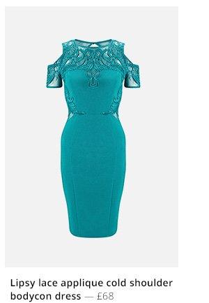 Lipsy lace applique cold shoulder bodycon dress