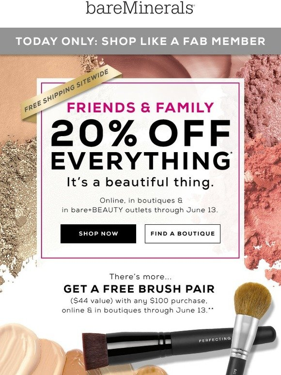 bareMinerals: Shop like a FAB member: Friends & Family Sale preview | Milled