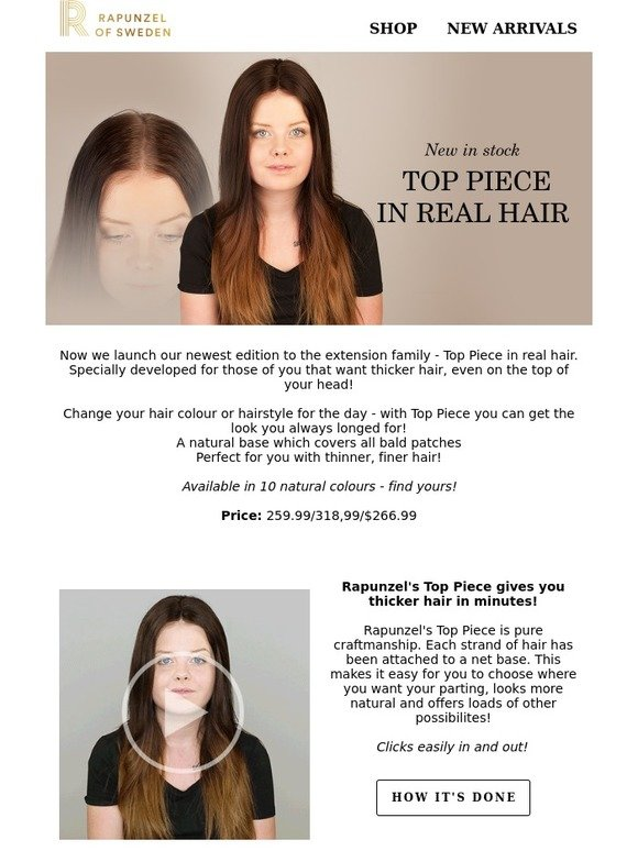 Rapunzel Of Sweden New Products In Stock Top Piece In Real Hair