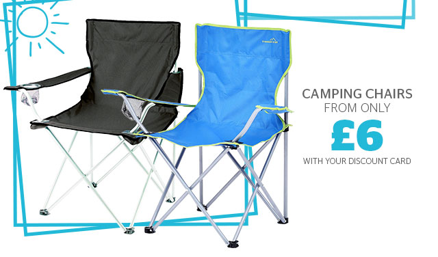 Camping chairs from only £6