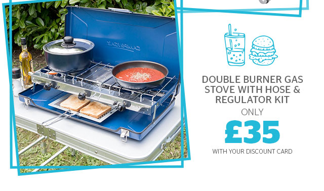 Double burner Gas Stove with Hose & Regulator Kit from £35