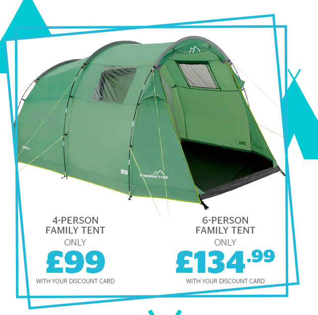 4-person family tent from £99 and 6-person from £134.99