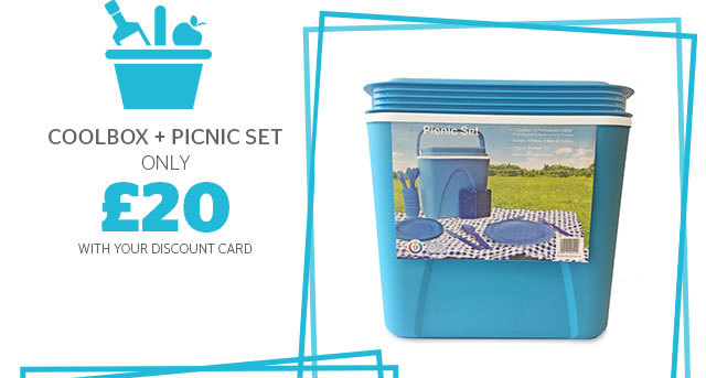 Coolbox + picnic set from only £20