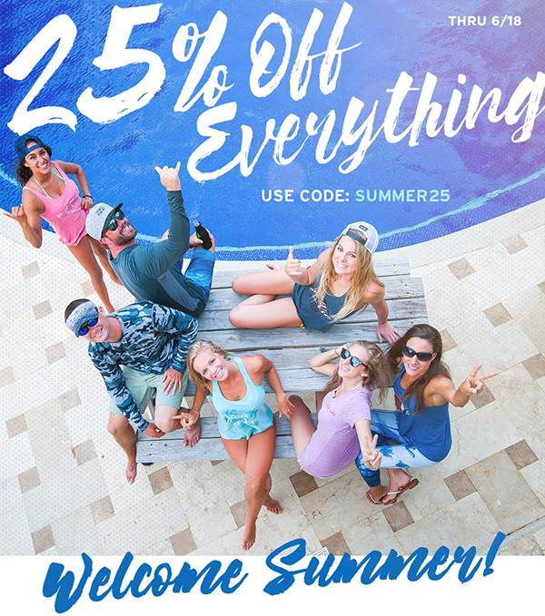Welcome summer with 25% off sitewide through 6/18.