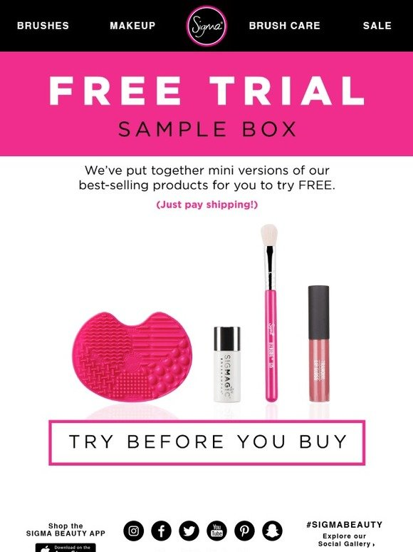 Sigma Beauty Exclusively Yours Free Sample Box Milled