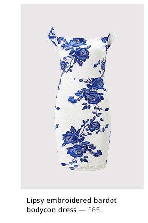 LIPSY EMBROIDERED BARDOT BODYCON DRESS