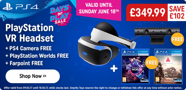 Playstation VR Headset, Camera, Farpoint & VR Worlds Bundle