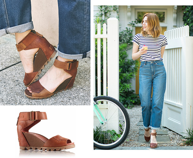 Images of a woman wearing Rustic Brown Joanie sandals in a city setting.