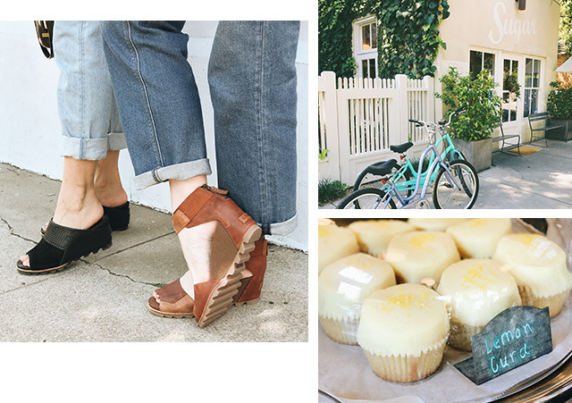Images of women wearing Joanie sandals and mule wedges in a city setting, including outside an artisan bakery.