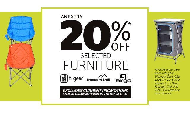 Save an extra 20% Hi Gear Furniture