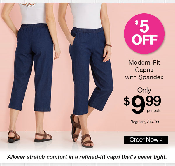 Modern-Fit Capris with Spandex