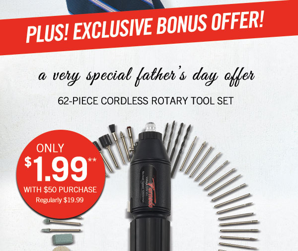 Exclusive Savings on our 62 Piece Rotary Tool Set!