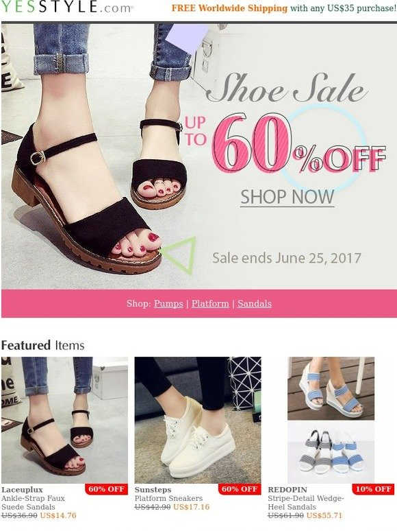 73f22181e29 YesStyle  Walk in comfort and style! Shoes up to 60% OFF - One week only