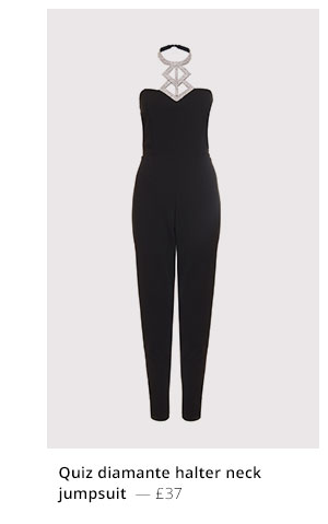 QUIZ DIAMANTE HALTER NECK JUMPSUIT