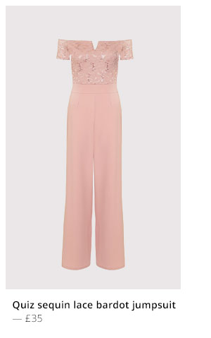 QUIZ SEQUIN LACE BARDOT JUMPSUIT