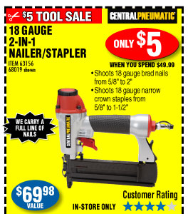 Harbor freight 6999 value for only 5 milled 18 gauge 2 in 1 air nailerstapler greentooth Images