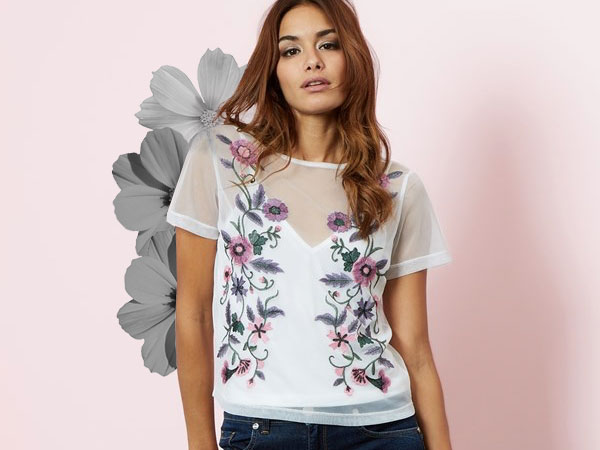 LIPSY FLORAL EMBROIDERED TOP