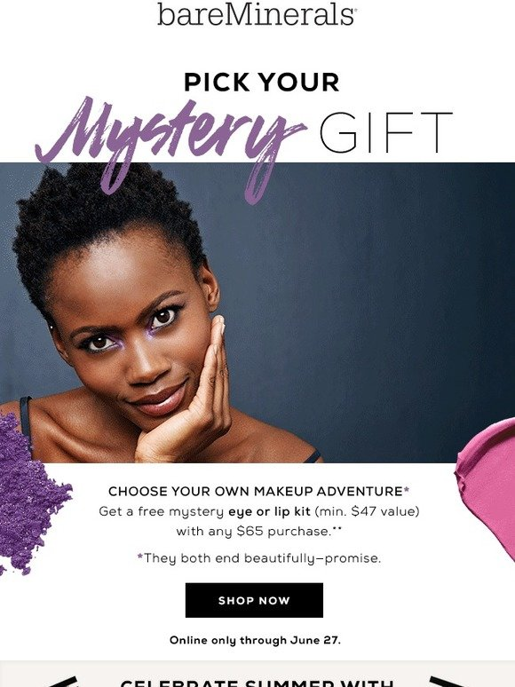 Bare Escentuals: Pick a free Mystery Gift set | Milled
