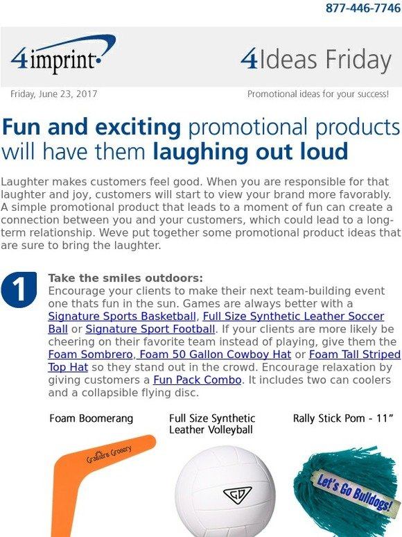9d3f3b12a0a 4imprint Inc.  4 Ideas Friday  Fun and exciting promotional products will  have them laughing out loud