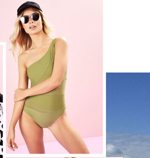BOOHOO RUCHED MESH SHOULDER SWIMSUIT
